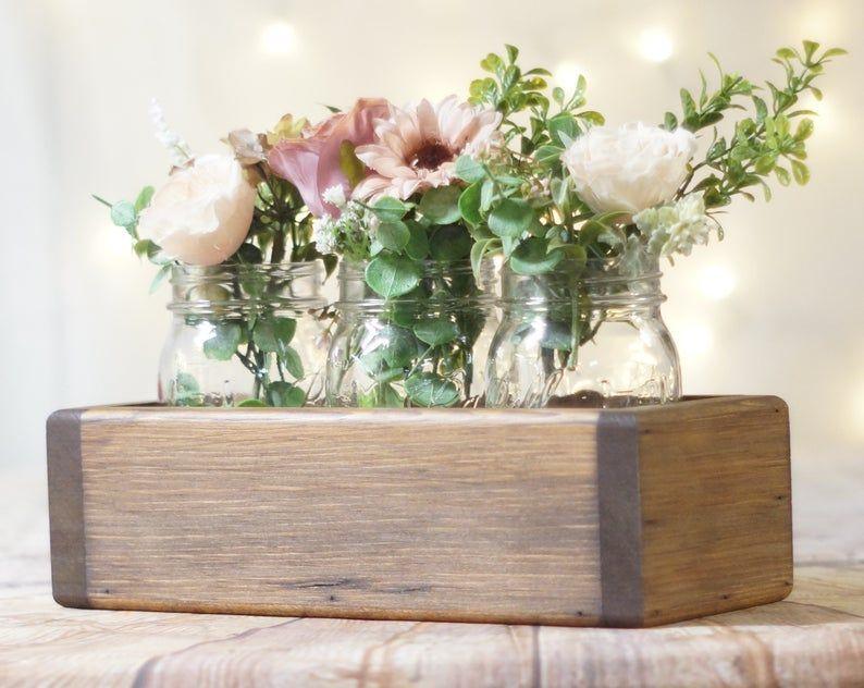 Wood Box Centerpiece Box For Mason Jars Rustic B In 2020 Wood Box Centerpiece Rustic Box Wooden Flower Boxes