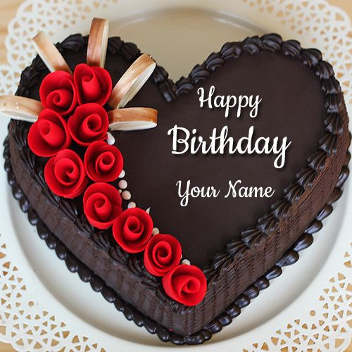 Beautiful Chocolate Heart Name Birthday Cake With Red Rose