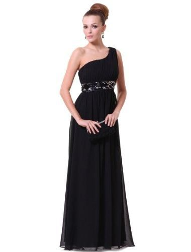 Dresspy Dresspy: Save $70.00 on Ever Pretty Black One Shoulder Empire Line Sequins Padded Long Evening Gown 09770