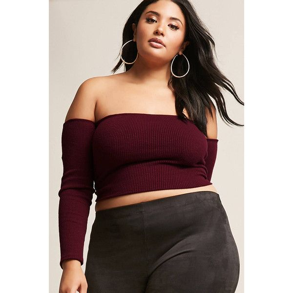 0195b3ebeda80 Forever21 Plus Size Off-the-Shoulder Slub Knit Crop Top ( 28) ❤ liked on  Polyvore featuring plus size women s fashion