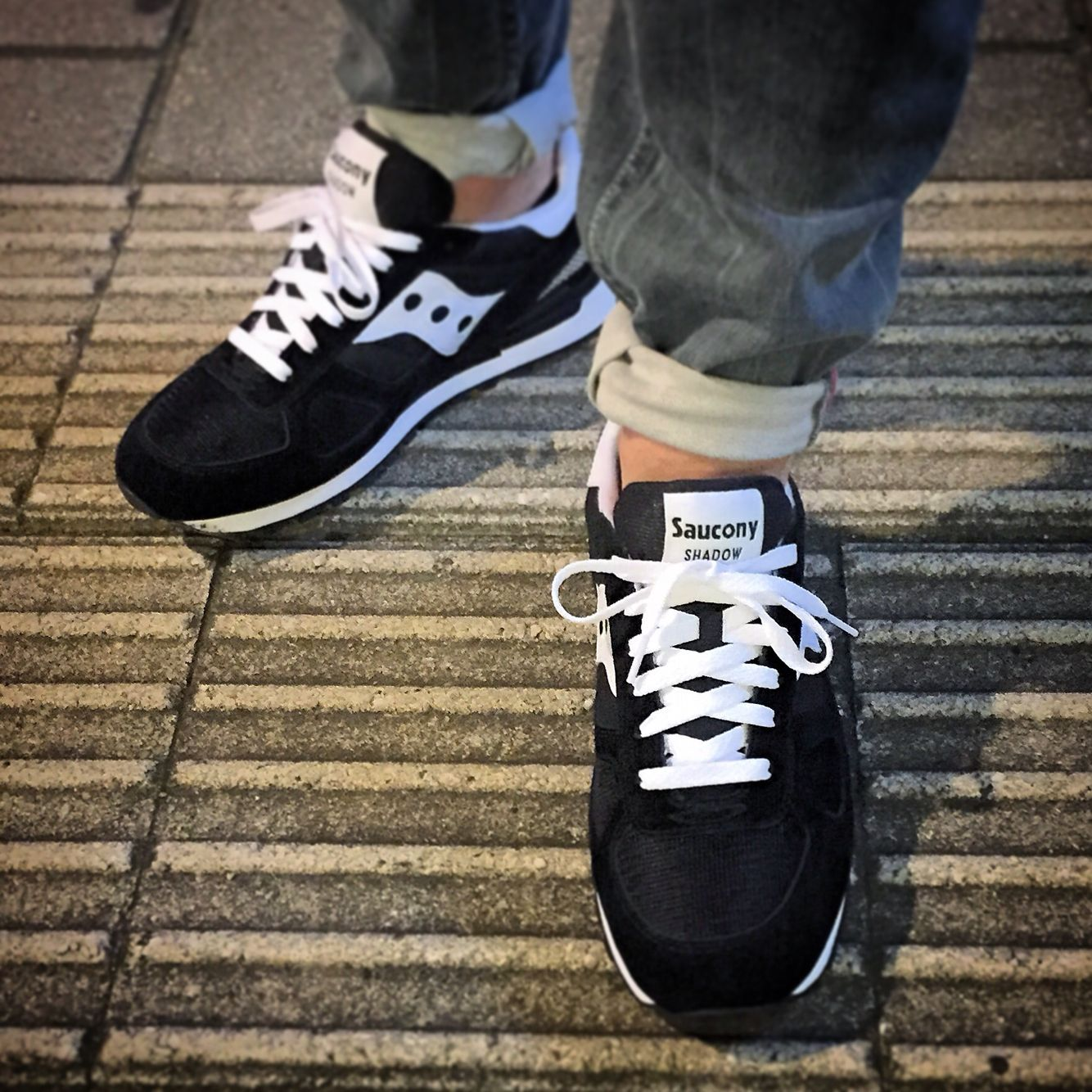 533dc0552b47 Saucony Shadow Original BLK. Swapped the black laces for white ones ...