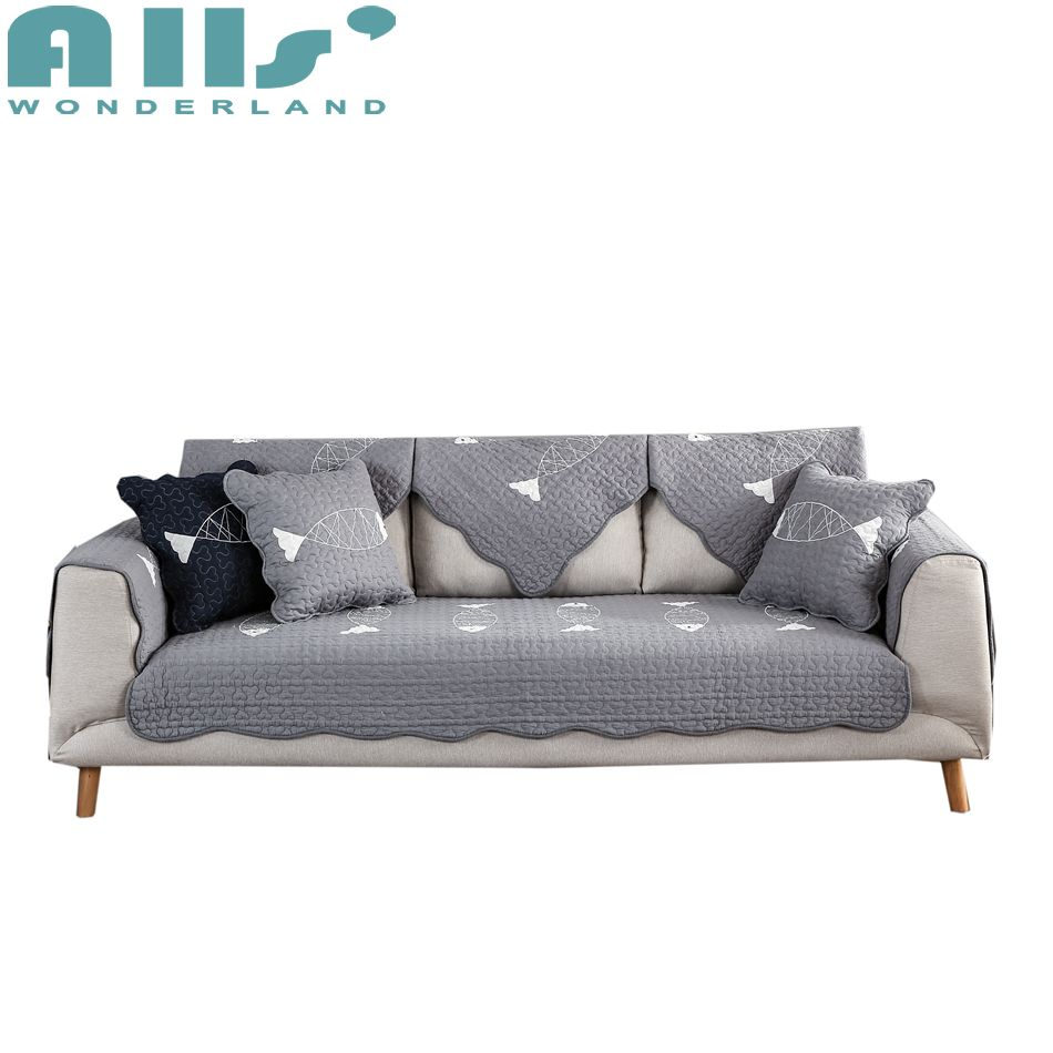 Grey Sofa Slipcover 1pc Furniture Covers For Couches Grey Sofa Slipcover Fish Pattern