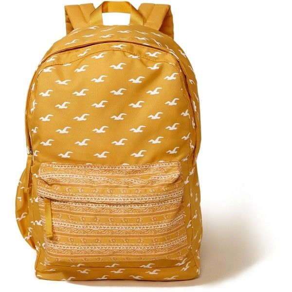 349a33e4cc Hollister Printed Nylon Backpack (€36) ❤ liked on Polyvore featuring bags,  backpacks, yellow pattern, yellow bag, print backpacks, nylon bag, ...