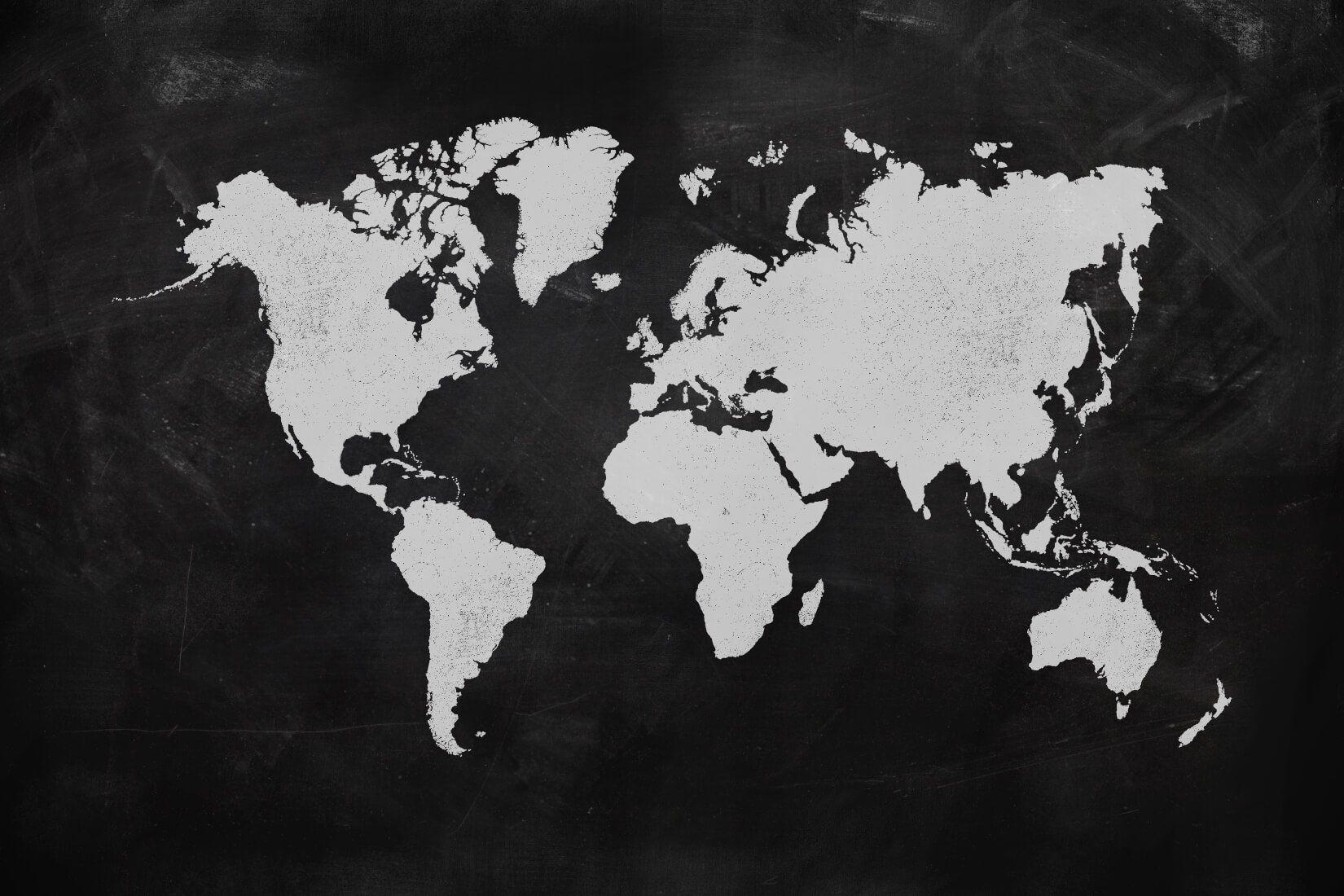 Black World Map Wallpaper Mural Muralswallpaper In 2021 Worl