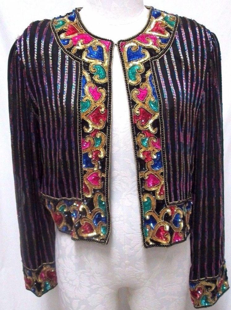 Jasdee Vintage Bolero Jacket Hand Work Beaded /& Hand Print On Silk Style 2019