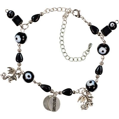 This lovely bracelet is made from glass and metal beads and features four black evil eye beads, two silvery Dragon charms and a center �PROTECTION� inscribed bead. Each adjustable bracelet has a lobster claw clasp and 2 inch extension chain. Bracelets are attached to Evil Eye Amulet cards which describes the protective powers of this talisman. Made In: India