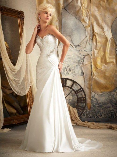A-line/Princess Sweetheart Beading Chapel Train Chiffon Wedding Dresses $241.99 Wedding Dresses 2014