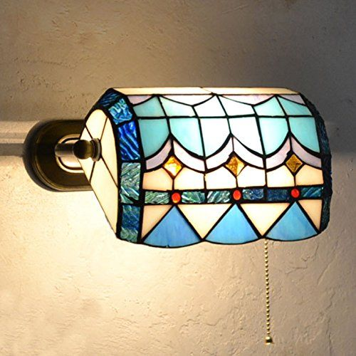 Mediterraner Stil Tiffany Wohnzimmer Wandleuchten Schlafzimmer Flur Wand  Wandleuchte Bad Blau U0026 Weiß Glas Schatten Spiegel