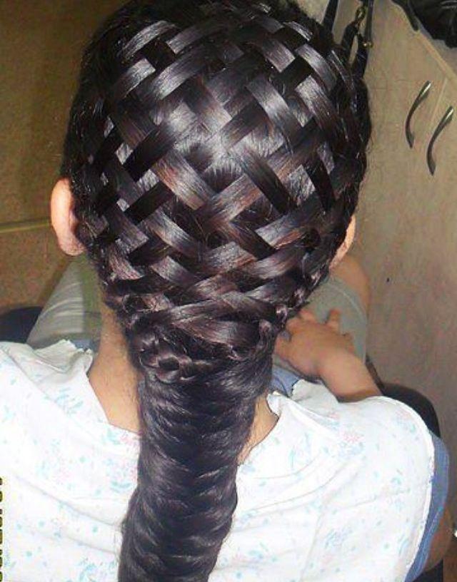 Giant Weave Across Head Ending In A Fishtail Braid Braids Hair
