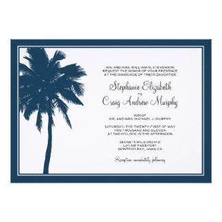 "Navy Blue Palm Tree Wedding Invitation 5"" X 7"" Invitation Card"