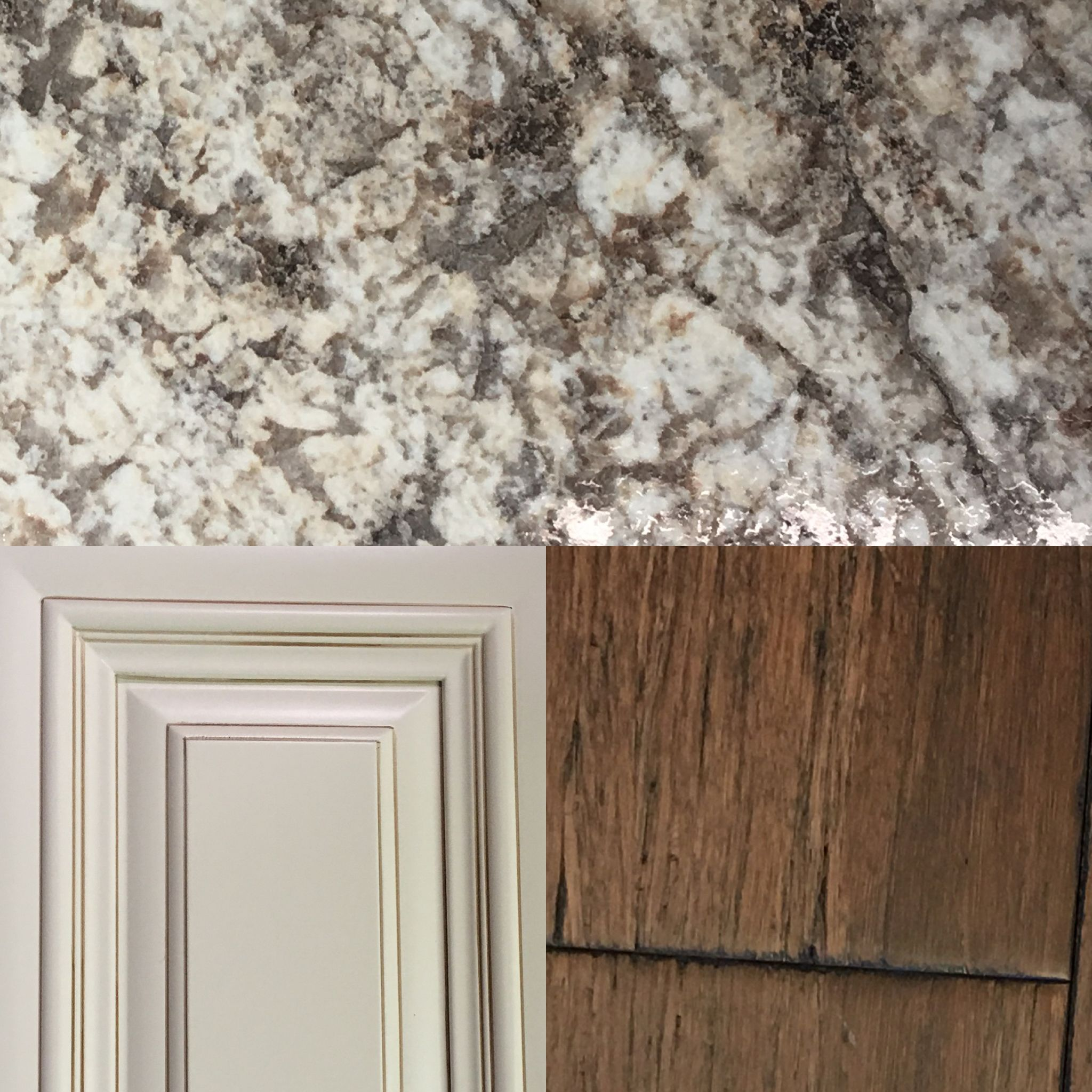 Beautiful Colors That Go Together:Bianca Romano Laminate Countertops, Antique White  Cabinets, Antique Hazel Handscraped Strand Bamboo Floors