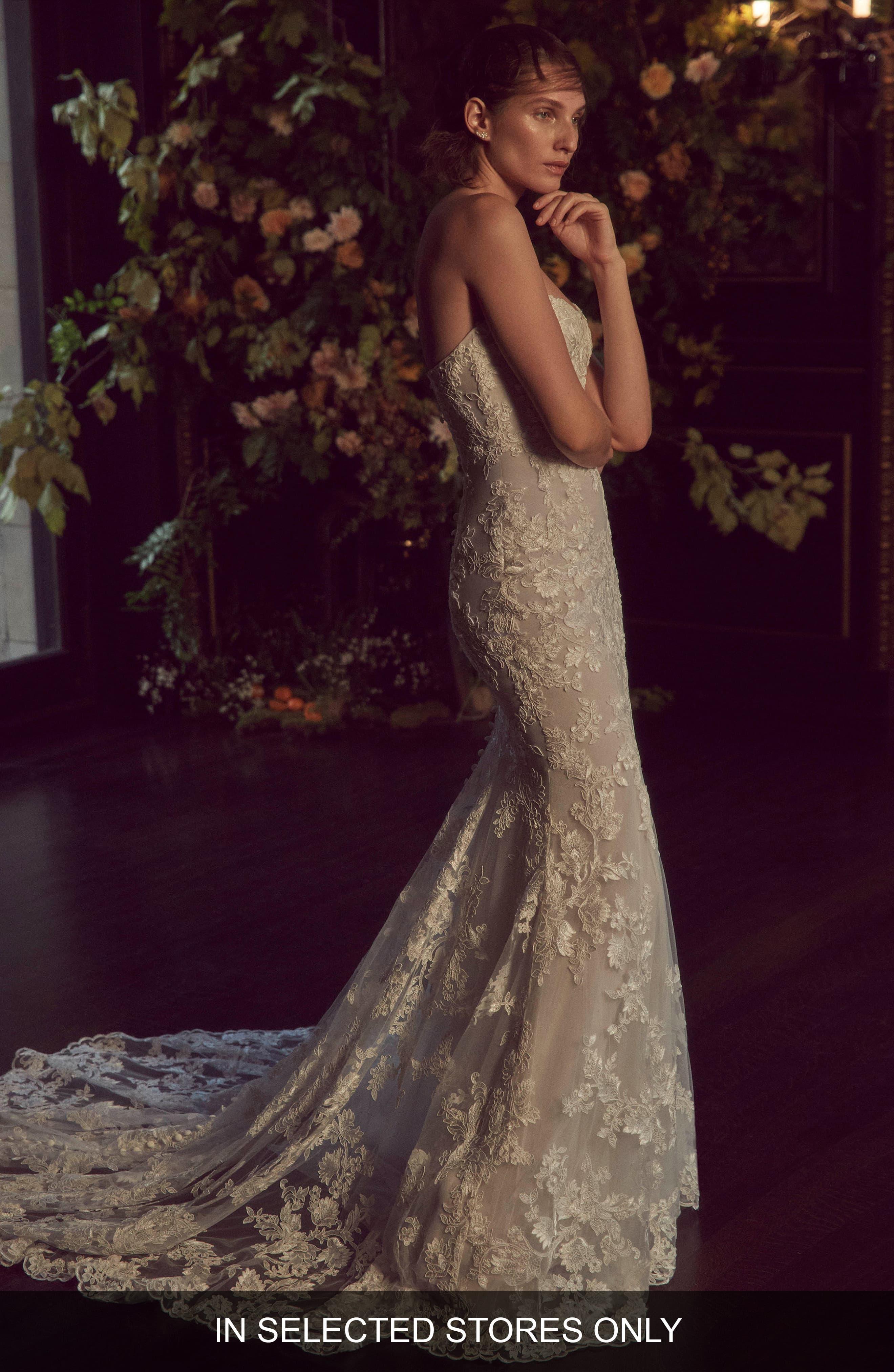 Bliss Monique Lhuillier Strapless Lace Dress Wedding Dress