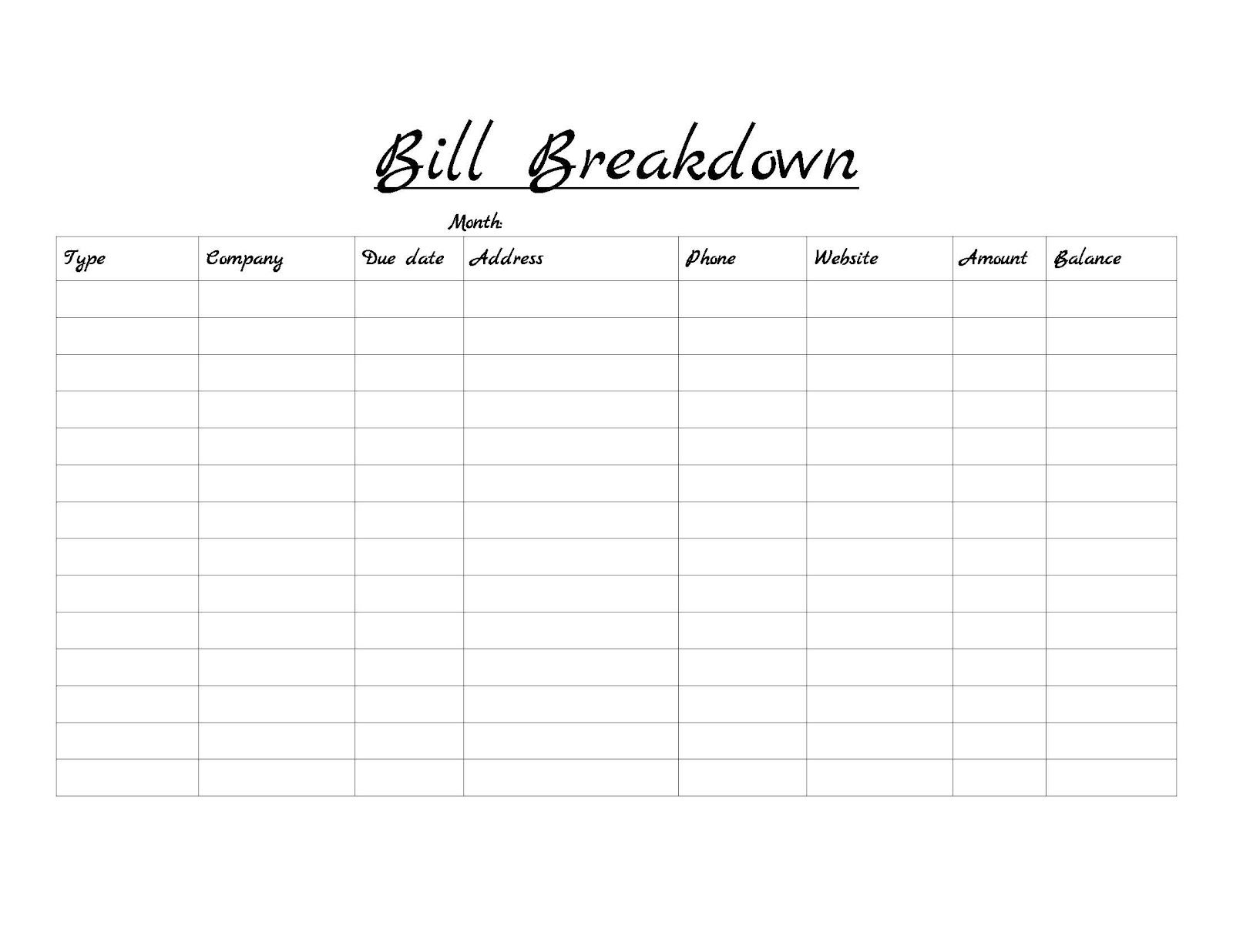Monthly Bill Template  Google Search  BillS Organizer Templetes
