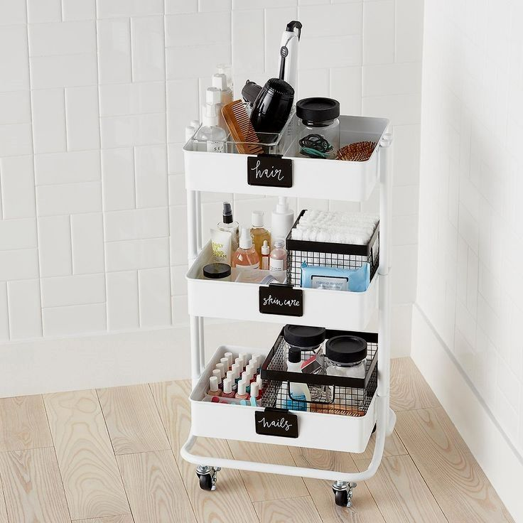 Whenever you need a little extra storage, our metal 3-Tier Rolling Cart is ready to roll. Its slender dimensions make it easy to slide into a home office, pantry, laundry room or bath. Three tiers give you room to organize. Mesh bottoms provide ventilation. Whether you're sorting toys, craft supplies, towels, hair accessories, nursery supplies or makeup, this sleek rolling cart makes the most of tight spaces. If you're looking for the complete 3-Tier Rolling Cart solution with all of t..