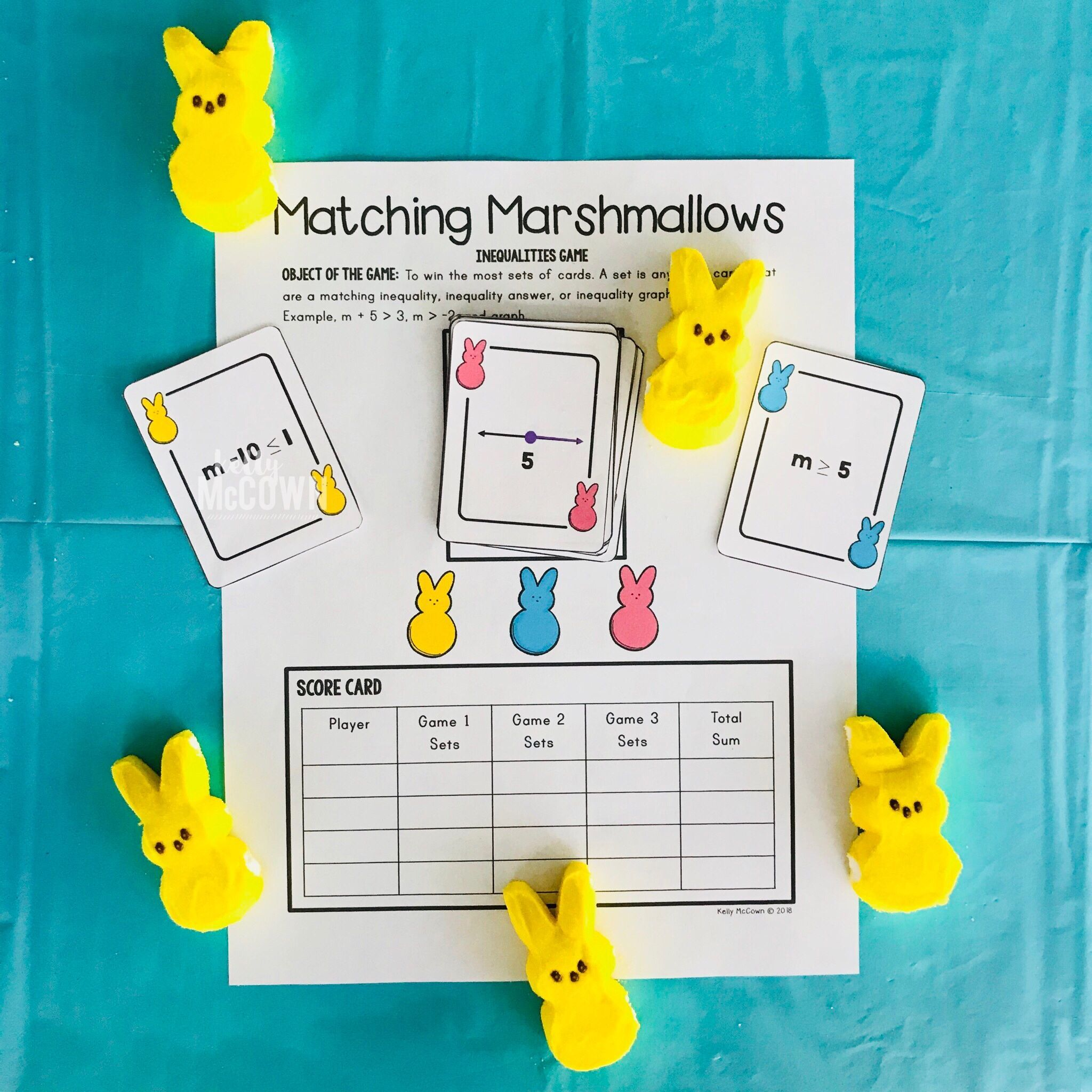 Spring Inequality Game With Matching Marshmallows Grades