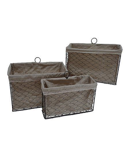Cheungs Rattan Imports Lined Rectangular Wire Basket   Set Of Three | Zulily
