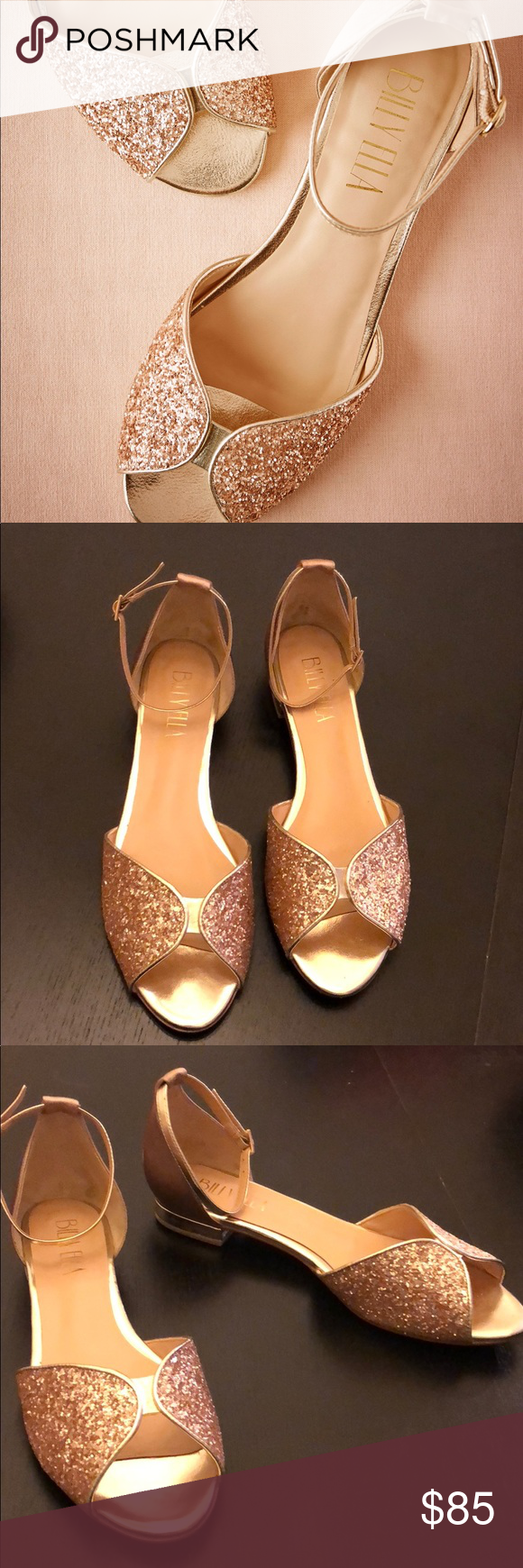 76d781986dec  Billy Ella  Champagne Jeni Flats Sparkle at the toes and shimmery  detailing at the heel keep these champagne peep-toes glamorous! Ankle strap.