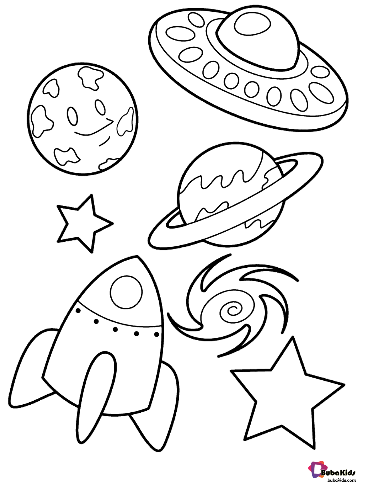 Alien Space Ship Planets Stars And Rocket Outer Space