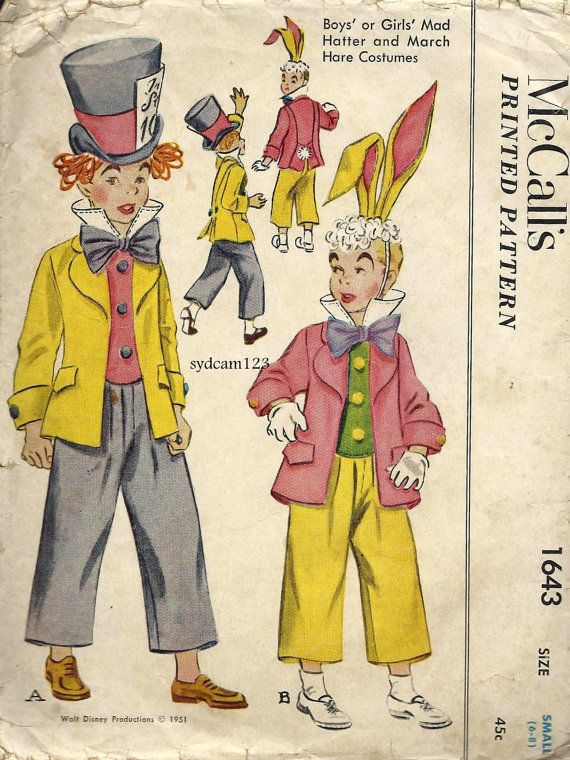 Vintage 1951 Mad Hatter and March Hare Boys or Girls Costumes ...