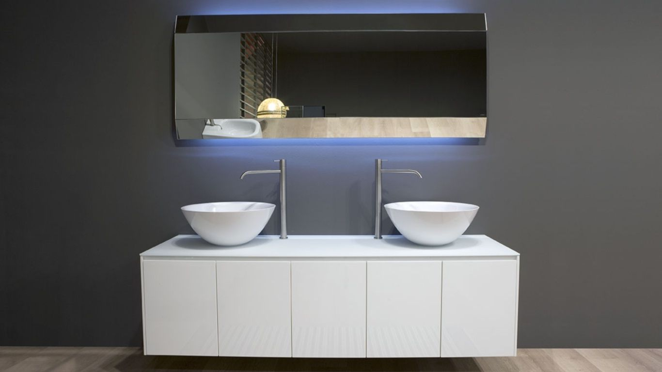 Mobile bagno sospeso con doppio lavabo catino componibile in varie finiture mod piana - Mobile bagno doppio lavabo ...