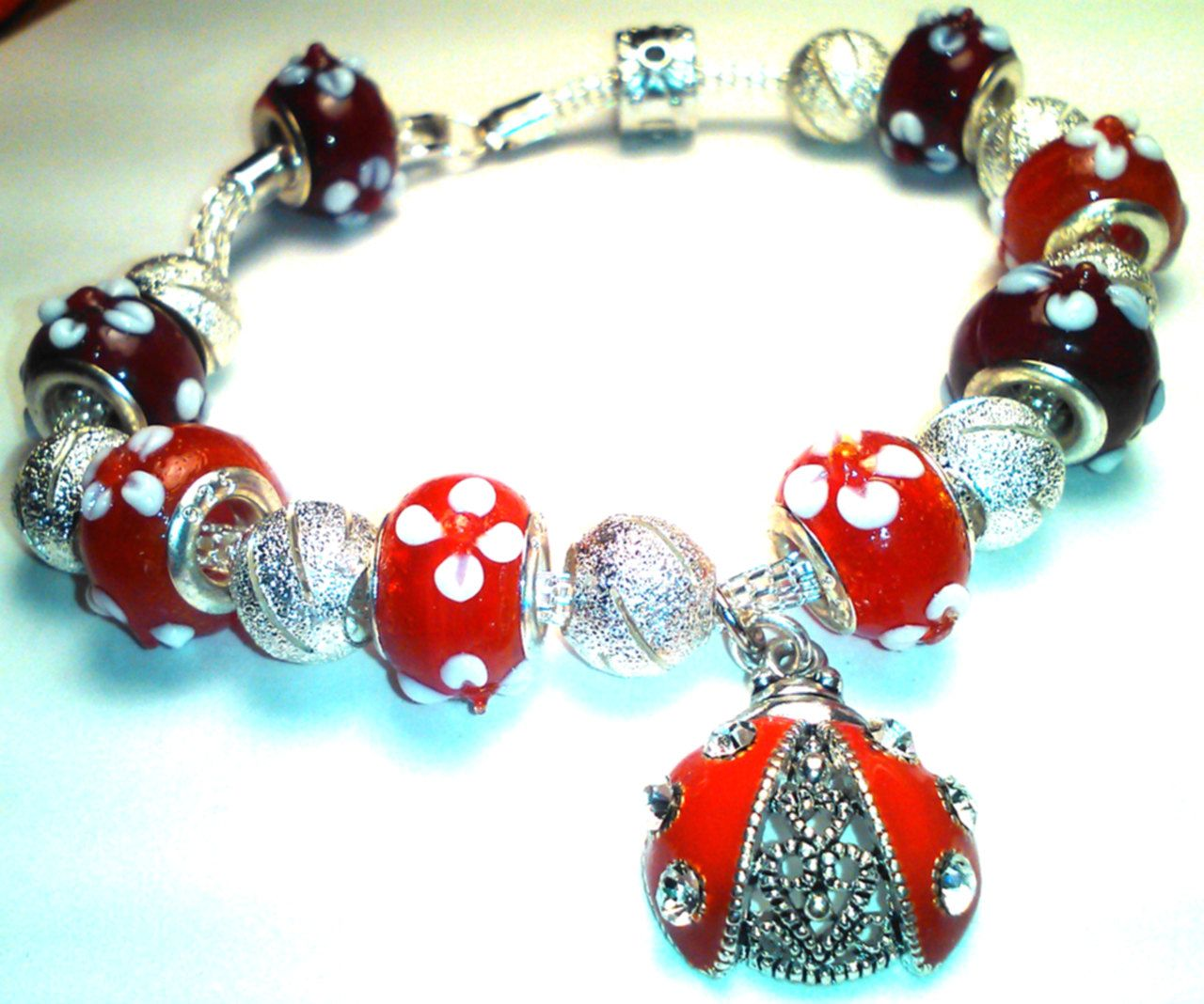 ADORABLE Multi Enamel Ladybugs Ladybug Charm Silver Beads Small Stretch Bracelet