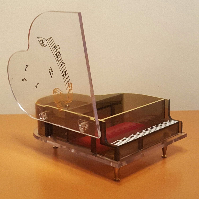 Vintage JOKIWA Japan Musical Jewelry Box Piano Shaped Acrylic