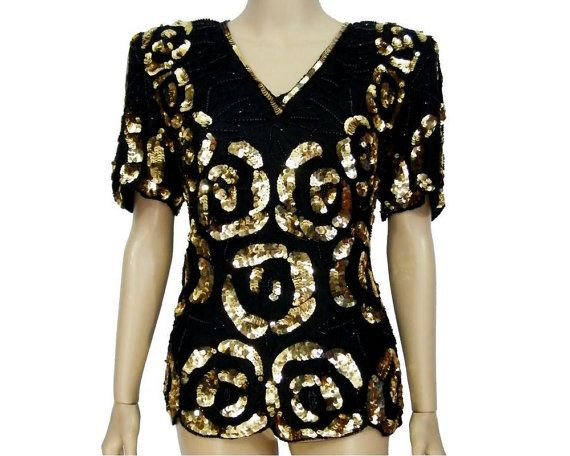 80's Vintage LAURENCE KAZAR Black Silk Gold Sequin Beaded Scalloped Short Sleeve Formal Wear Evening Blouse Top Mother of the Bride - Medium