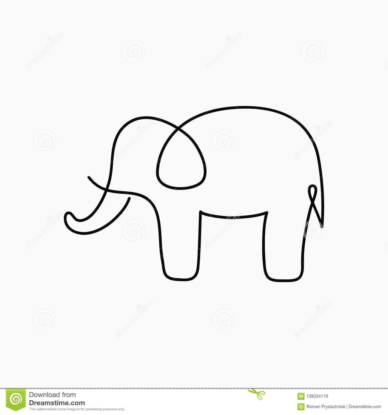 Minimalist Elephant Drawing: Illustration About Elephant One Line Drawing. Continuous