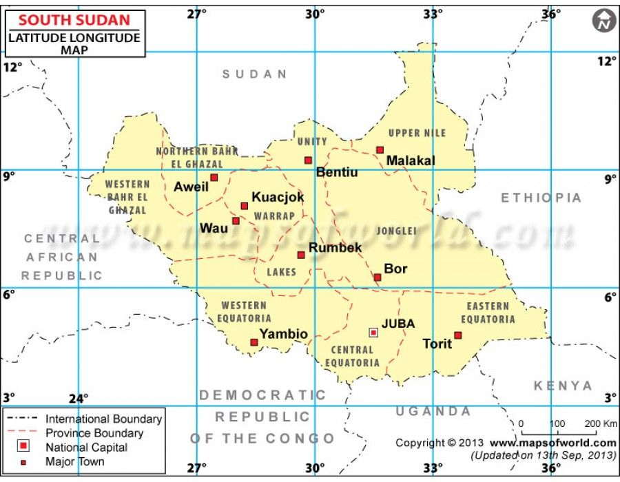 Buy south sudan lat long map online country maps pinterest lat latitude and longitude of south sudan is degrees n and degrees e map showing the geographic coordinates of south sudan states major cities and towns gumiabroncs Gallery