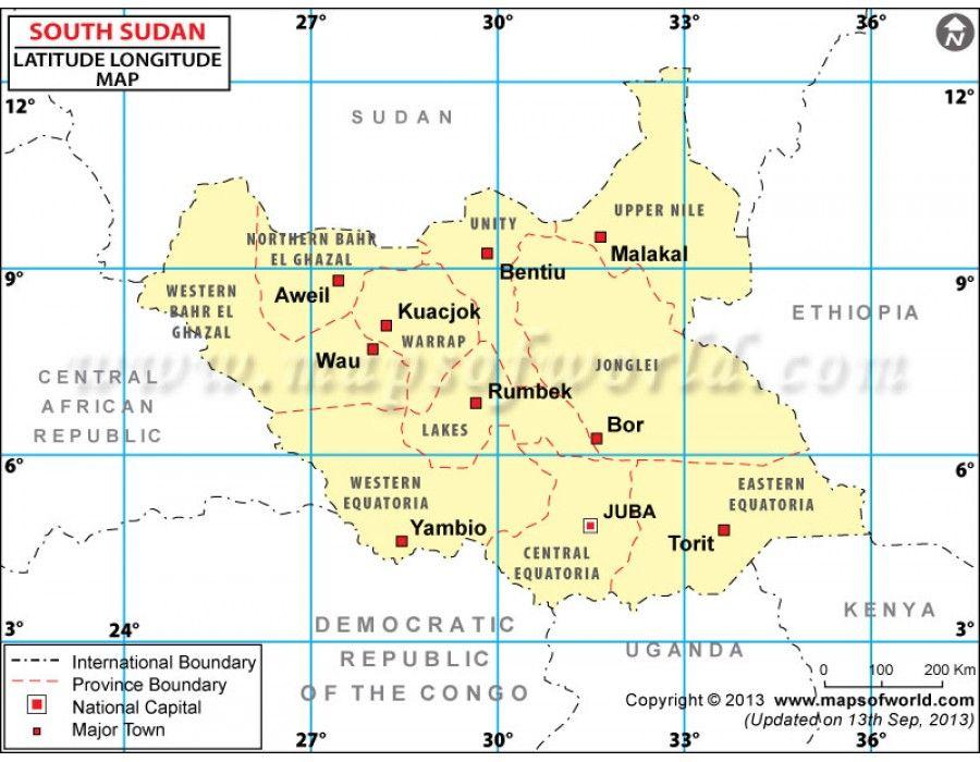 Buy South Sudan Lat Long Map Latitude And Longitude Map Map