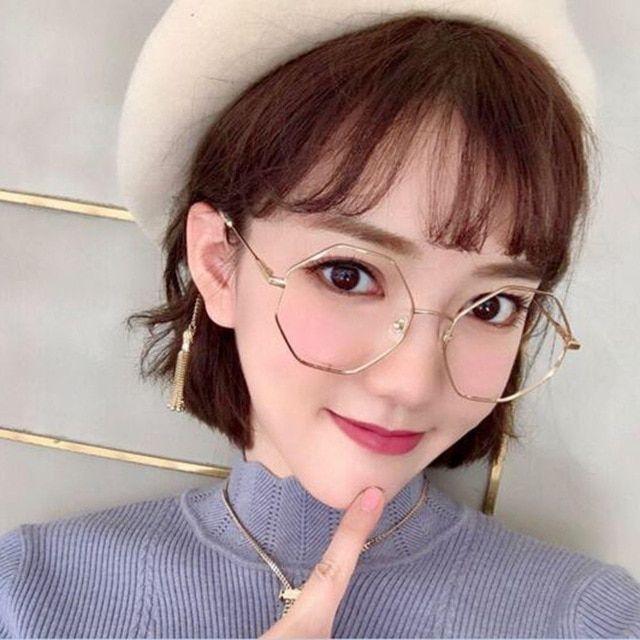 Photo of Outsized Korean Spherical hexagonal Glasses Body Clear Lens Ladies Males Gold Eyeglas…