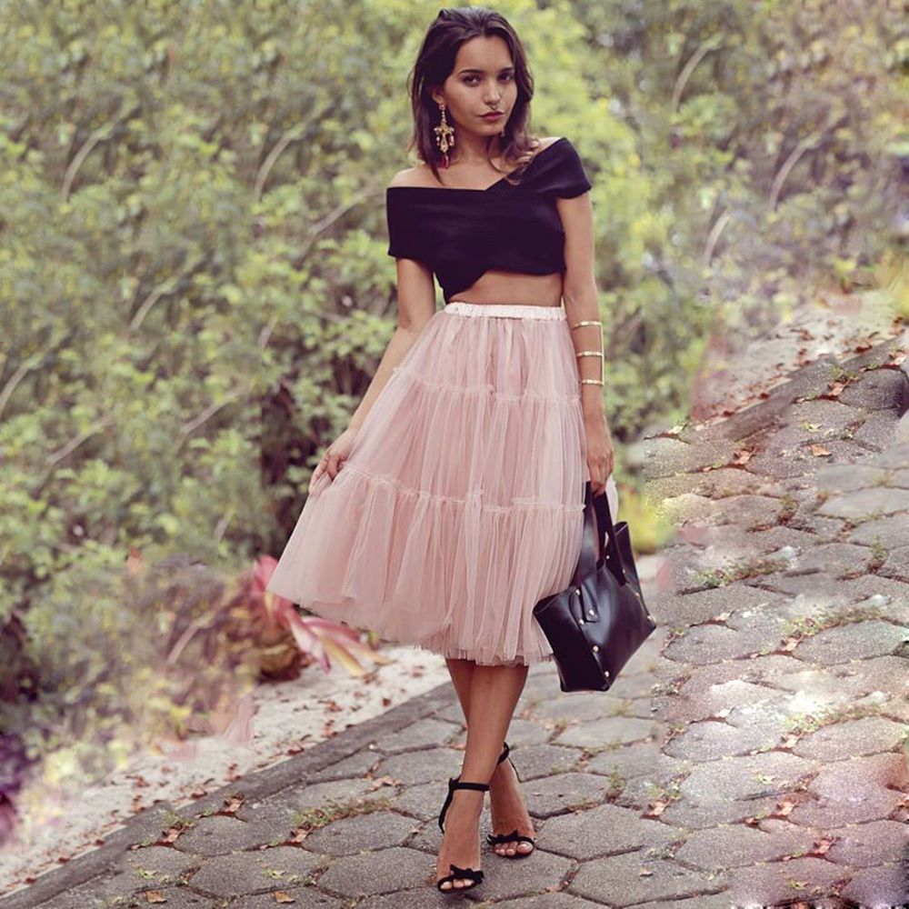6f49413d9484 5 Layers 65cm Long Celebrity Tulle Skirts Midi Princess Adult Tutu Summer  Style  Unbranded  Maxi