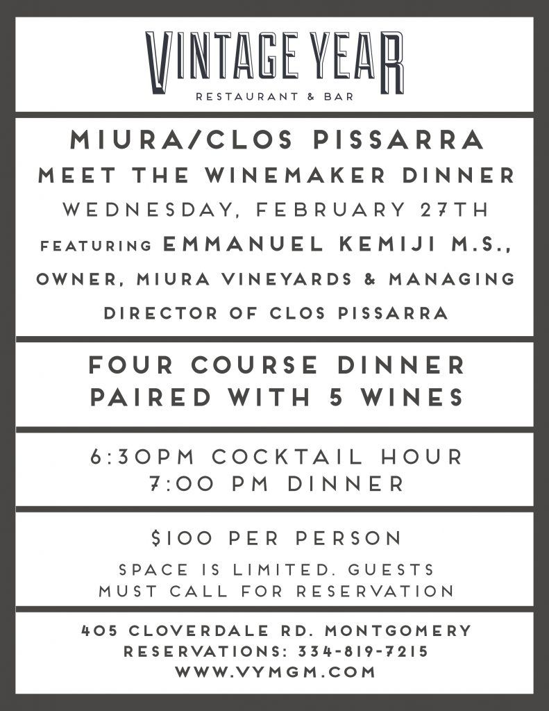 Miura Clos Pissarra Meet The Winemaker Dinner In Montgomery Al Winemaker Dinner Winemaking Master Sommelier