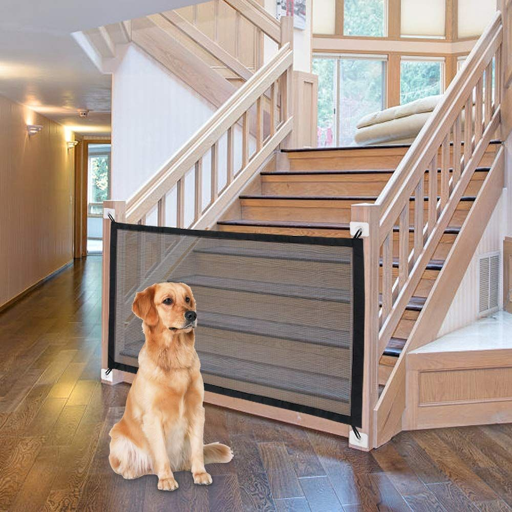 Magic Gate For Dogs Baby Gates Pet Safety Gate Stretchy Pet Mesh Barrier Folding Magic Mesh Gate Safe Guard Safet Pet Safety Gate Retractable Dog Gate Pet Gate