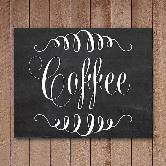 Coffee Sign Chalkboard Printable Wall Art by ...