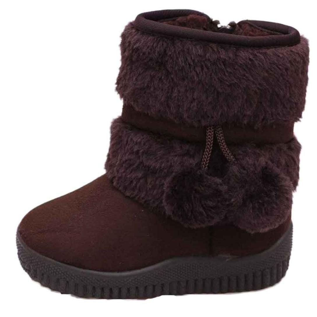 DADAWEN Baby's Girl's Cute Flat Shoes Pom Pom Winter Warm Snow Boots Coffee US Size 5.5 M Toddler(Toddler/Little Kid/Big Kid) ErKZzF4T