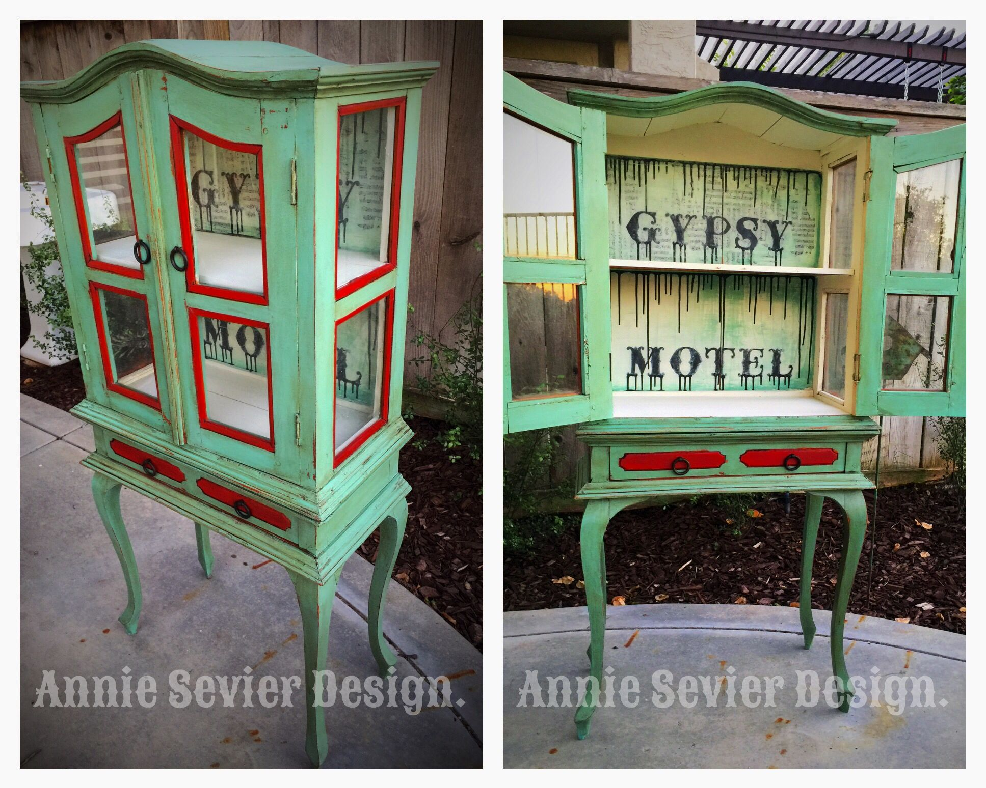 A small hutch gets a Gypsy/ Boho makeover. Cute little display case painted with Plaster Paint, Debi's DIY Paint and sealed with Annie Sloan Wax. #anniesevierdesign #boho #gypsy #chalkpaint #vintage