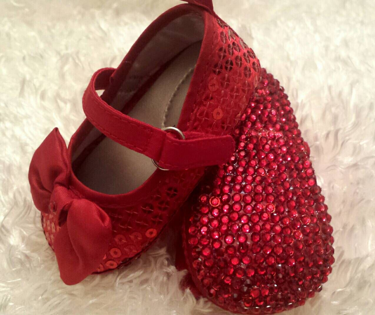 fa4488c17b7 Red Baby Shoes Red Rhinestone Sole Baby Shoes with Red Bottom Holiday Shoes  Bedazzled Baby Shoes