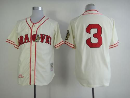 the latest cd1ff 0f6f8 Mitchell and Ness Braves #3 Babe Ruth Embroidered Cream ...