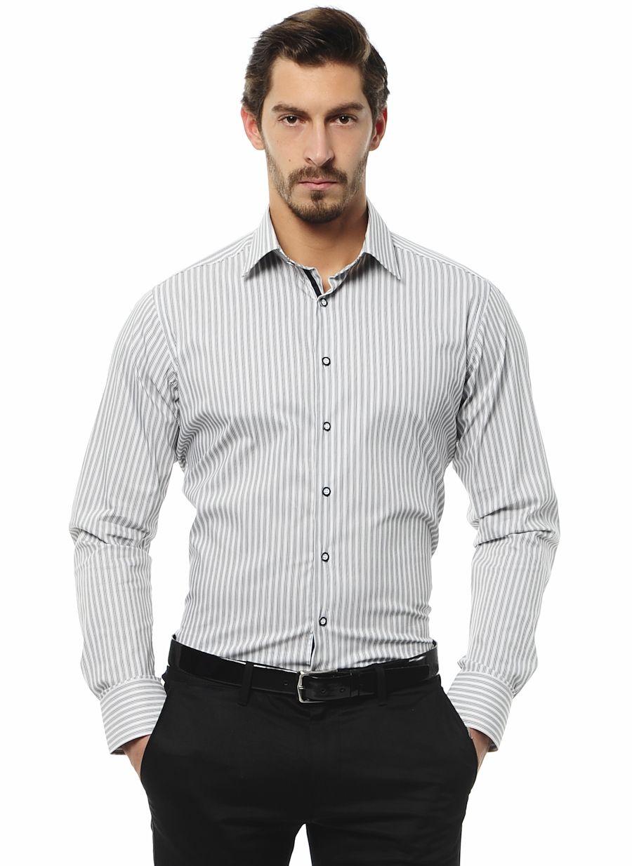 Slim Fit Siyah Desenli Gömlek - AltınYıldız Classics