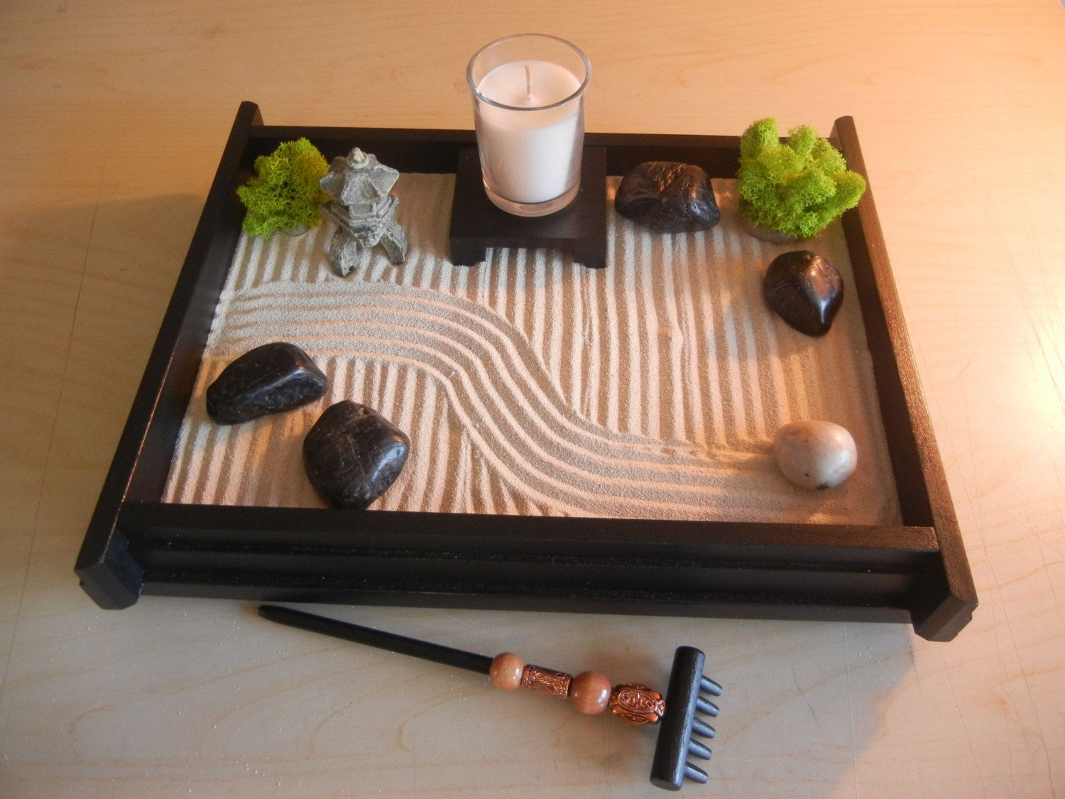 M deluxe medium desk top zen garden with mini pagoda and for Jardin zen miniature
