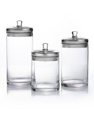 Bathroom Canister Set Amusing Another Great Find On #zulily Silver Lid Threepiece Canister Set 2018