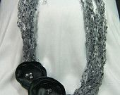 Handmade Crochet Necklace - Elegance in Grey- with removable flower clips