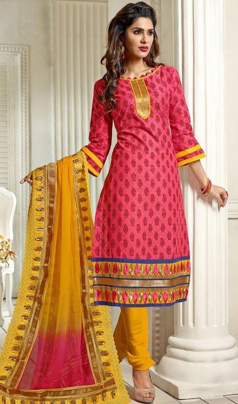 look intimidating in this fuchsia chanderi silk printed