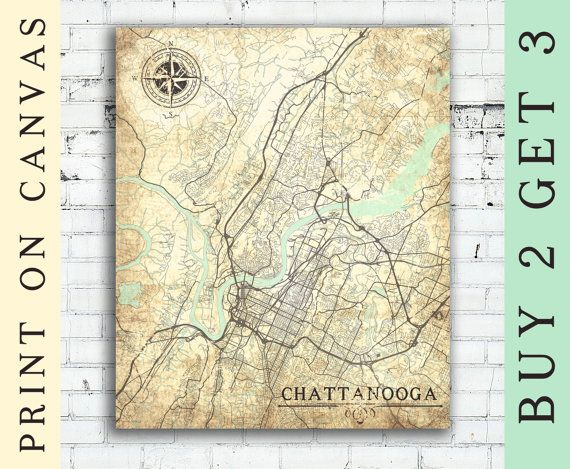 CHATTANOOGA TN Canvas print Tennessee Vintage map Wall Art Print