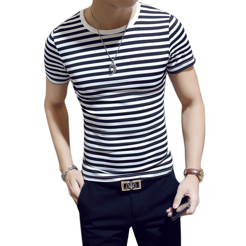 3267b47479f3 LANSHIFEI 2018 Men Stripe T-Shirt O-neck Short sleeve Slim Fit https