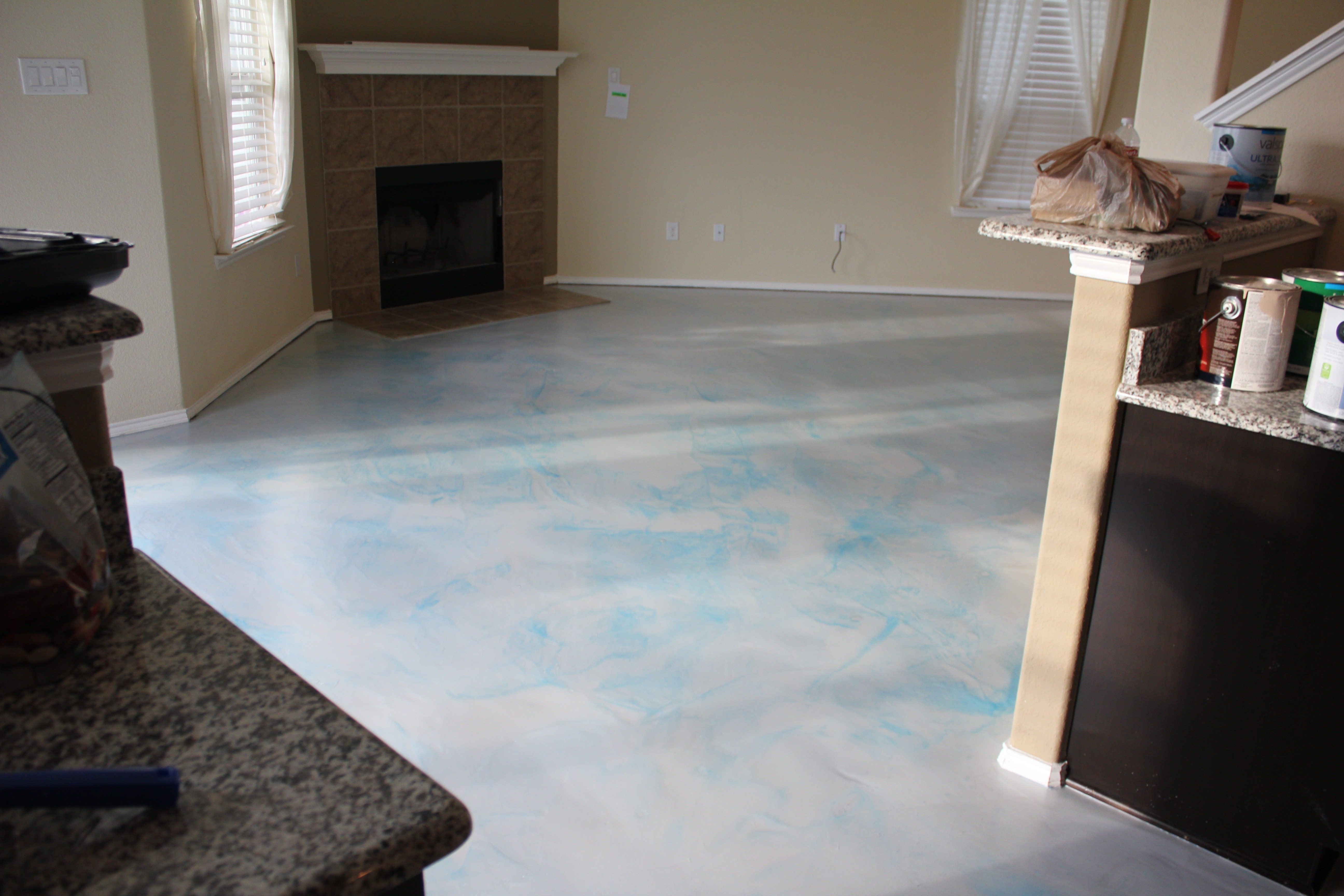 Metallic Epoxy Applied To Living Room Floor Pearl Base With Blue Highlights Concrete Living Room Floors Concrete Living Room Living Room Flooring Living room epoxy floors in homes