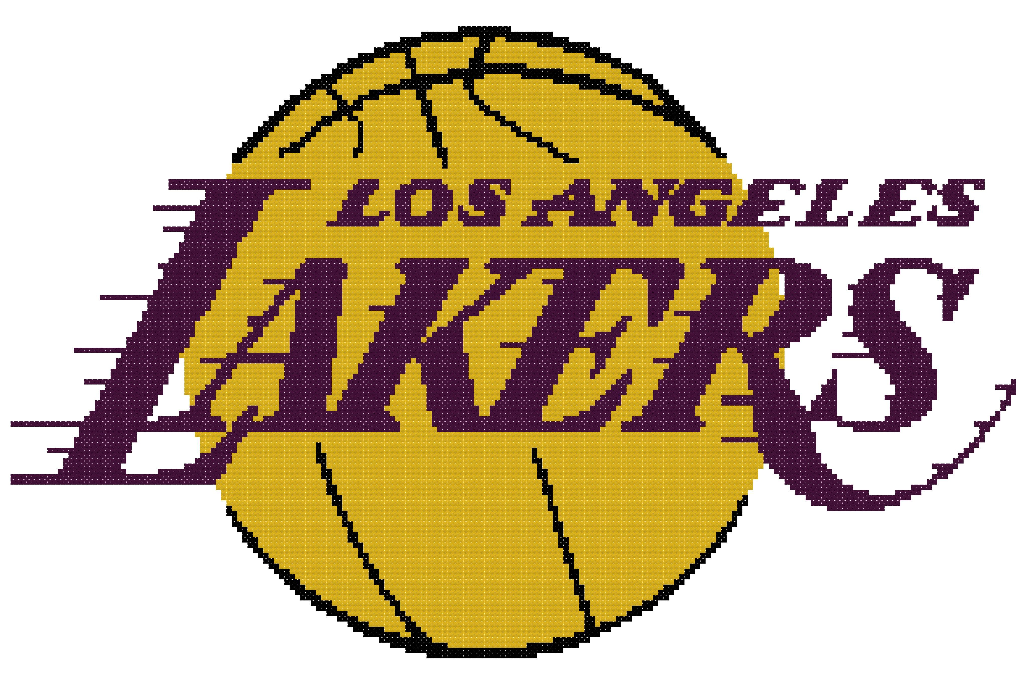 Counted Cross Stitch Pattern Los Angeles Lakers Logo Counted Cross Stitch Patterns Cross Stitch Patterns Los Angeles Lakers Logo
