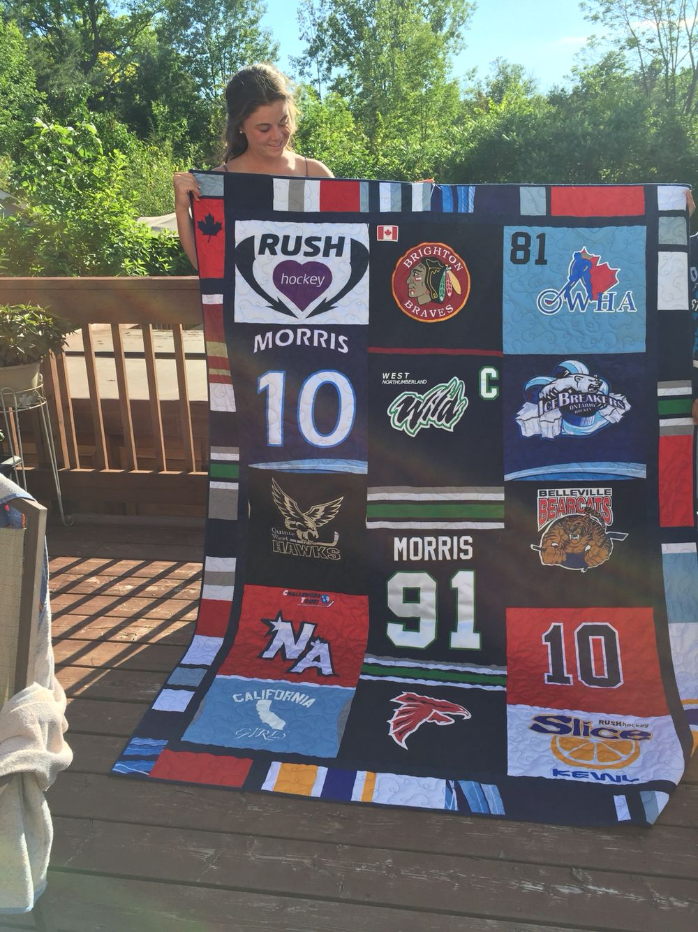 Quilt of hockey jerseys - keepsake for my daughter as she heads ... : jersey quilt - Adamdwight.com