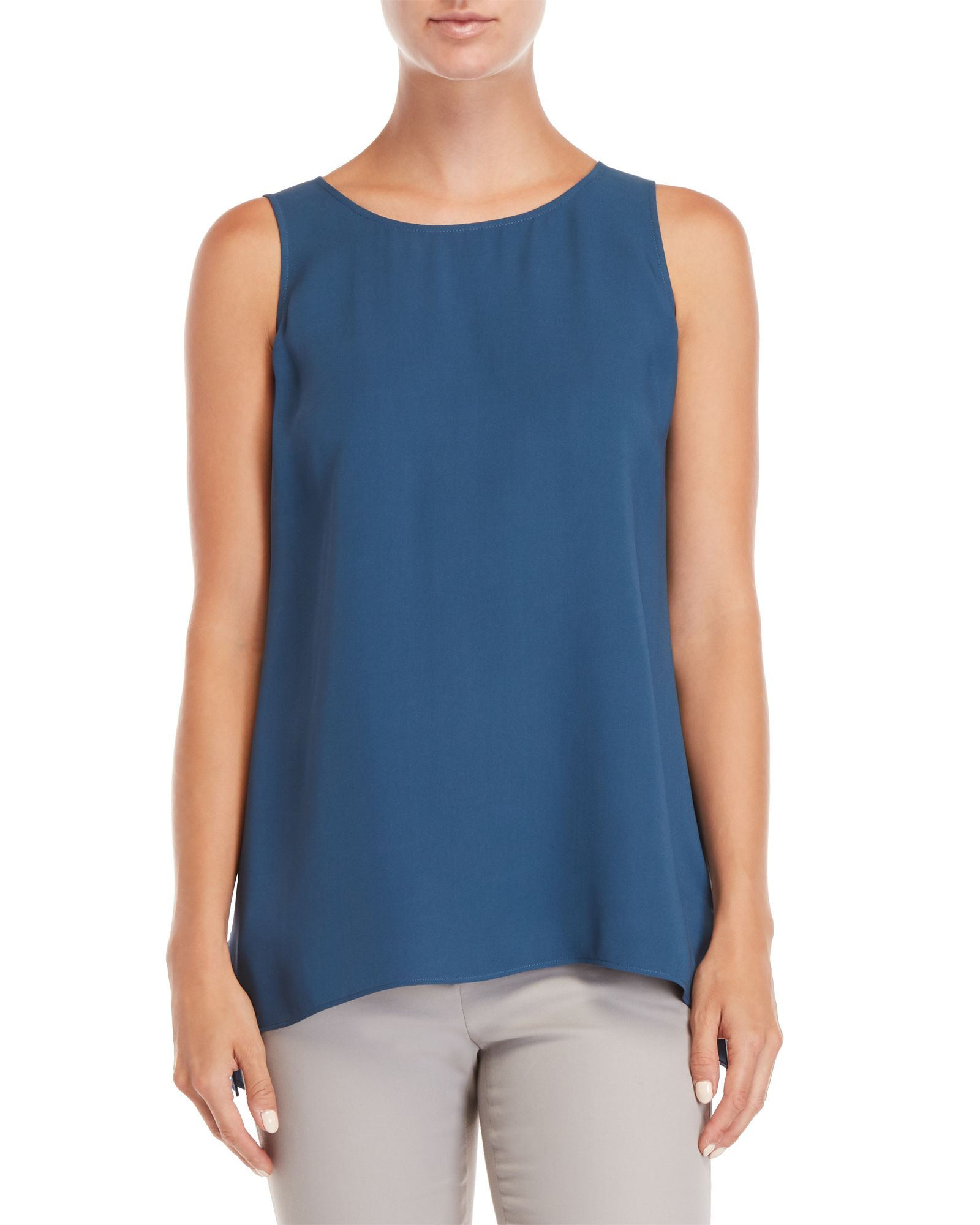 f054600d435af3 Lafayette 148 New York Blue Ruthie Sleeveless Silk Blouse